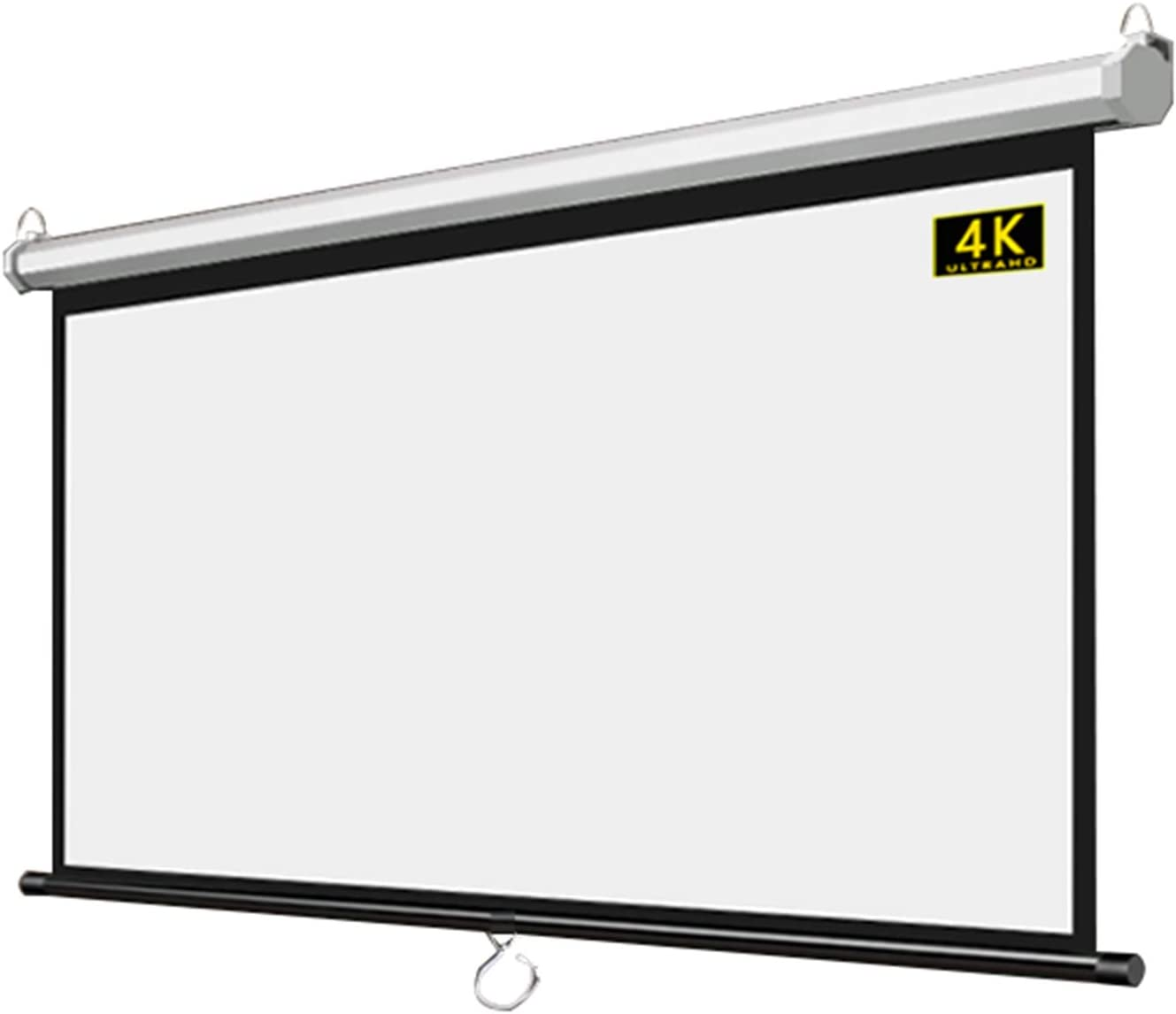 ALDS Projector Screen for Office Home Cinema Classroom Wall-Mounted Projection Screen Pull Down 60 in 4:3 HD Movie Screens Slow Retract Mechanism 116cm(W) x 87cm(H)