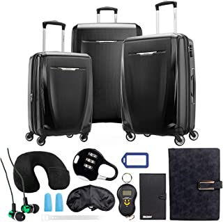 Samsonite Winfield 3 DLX 3 Piece Set (Spinner 20/25/28), Black 120751-1041 with Deco Gear 10 Piece Luggage Accessory Ultimate Travel Bundle