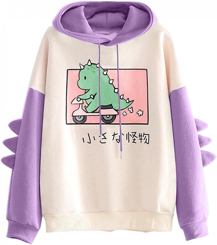 ONHUON Sweatshirts for Women, Womens Teen Girl Colorblock Anime Printed Long Sleeve Hoodie Sweatshirt Casual Blouse Tops