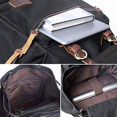 BLUBOON Canvas Vintage Backpack Leather Trim Casual Bookbag Men Women Laptop Travel Rucksack - black - 12 x 17.8 x 6.5 inches