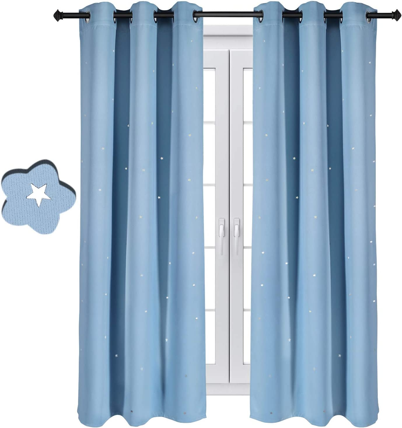 Fancy Star Blackout Curtains for Kids Bedroom Living Room Star Curtains Boys Room Girls Set of 2 Panels Baby Room Hi 42 x 63 Inches, Baby Blue
