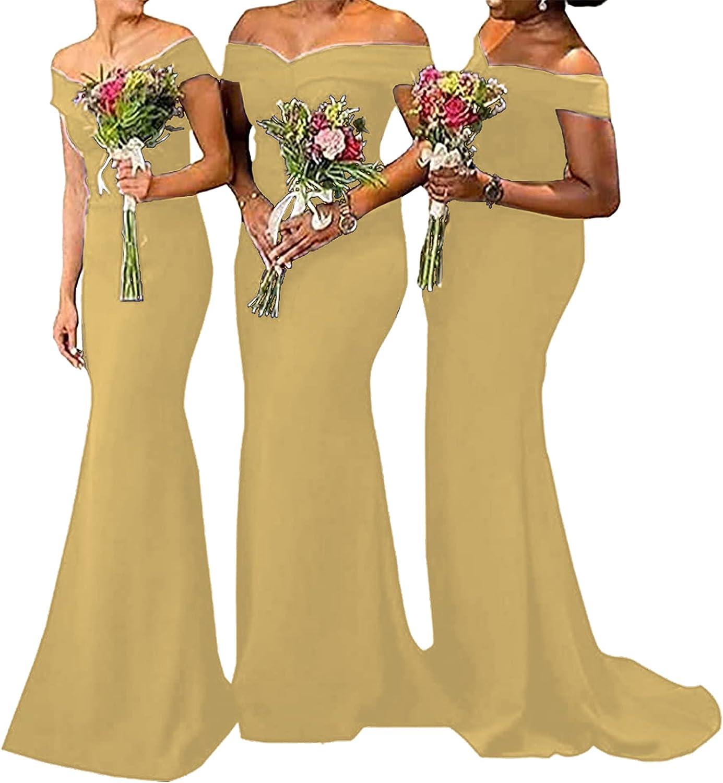 Bridesmaid Dress Off The Shoulder Prom Dress Mermaid Satin Bridesmaid Dresses