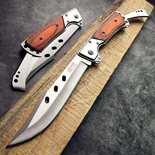 """HOLYEDGE 10.5"""" Folding Tactical Knife with Rosewood Handle - Best EDC Pocket Tactical Outdoor Survival Knife"""