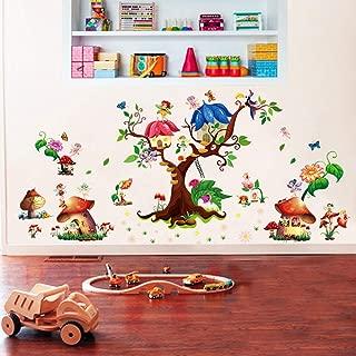 ufengke Fairy Garden Wall Stickers Tree Mushroom House Wall Decals Mural for Girls Bedroom Nursery Living Room