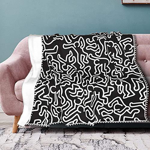 Homage To Keith Haring - Coperta in morbido pile di flanella per divano, letto, divano, sedia, ufficio, viaggi, campeggio, moderna, 153x204 cm