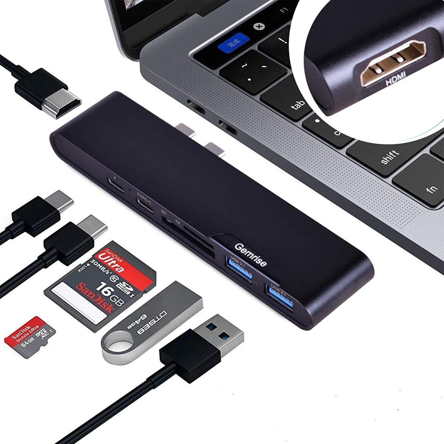 USB C Hub, 7-in-1 USB C Adapter, with 5K USB C to HDMI, for MacBook Pro 2017/2018/2019