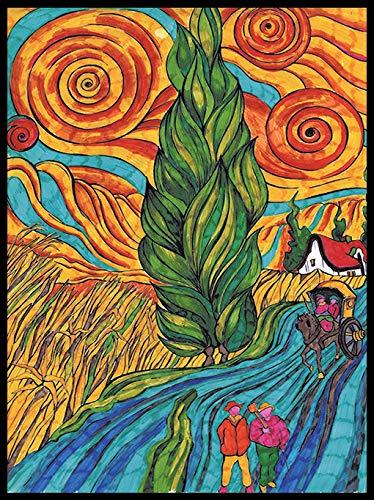 Colorvelvet LA8 - Van Gogh Strada con Cipresso e Stella Disegno, 47 x 35 cm