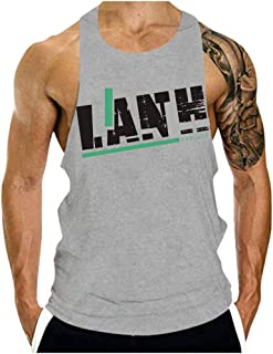 Men's Fitness Tank Sleeveless Slim Fit Casual Tunic Tees Letter Print O-Neck Sports Shirt Tight-Drying Fashion Tops