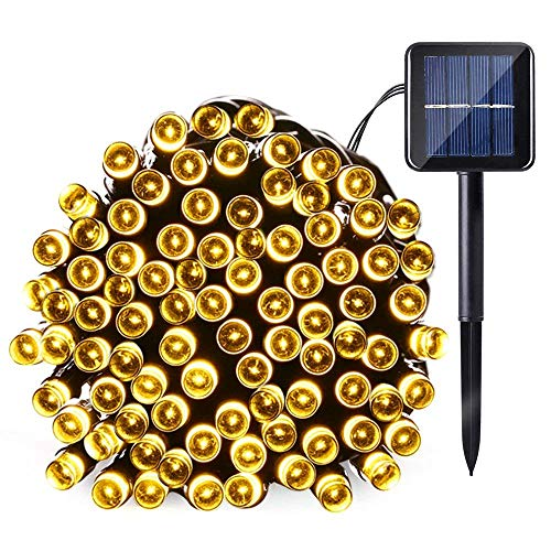 Joomer Solar Christmas Lights 39ft 100 LED 8 Modes Solar String Lights Waterproof Solar Fairy Lights for Garden, Patio, Fence, Balcony, Outdoors (Warm White)