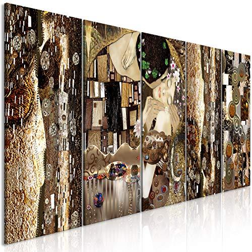 murando Quadro Gustav Klimt Bacio 200x80 cm 5 pezzi Stampa su tela in TNT XXL Immagini moderni Murale Fotografia Grafica Decorazione da parete Arte Astratto marrone l-A-0035-b-m