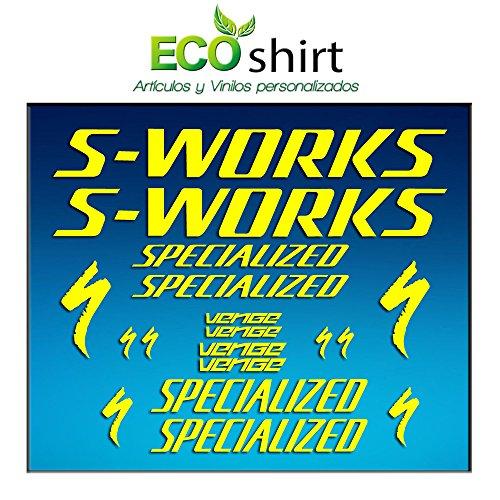 Ecoshirt 3U-JKQL-RHV2 Aufkleber Frame Sworks S-Works Venge Pro Vias Am31 Stickers Aufkleber Decals Adesivi Bike BTT MTB Cycle, Gelb
