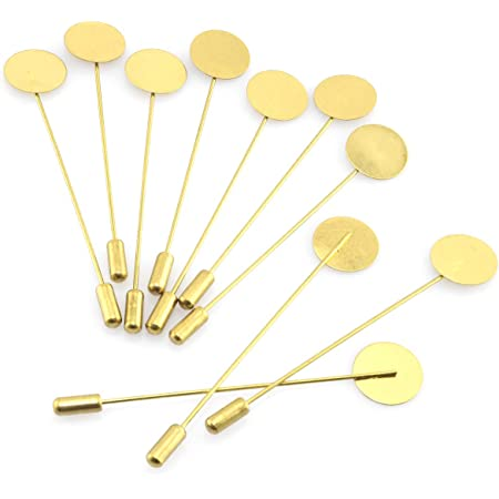 40 Pack Round Tray Lapel Pin Stick Craft Lapel Pins for Men Women Suit Tie Hat Scarf DIY Costume Jewelry Accessories Silver Gold AUEAR