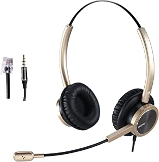 Telephone Headset RJ9 for Landlines Phone Office Headset with Noise Cancelling Microphone for Yealink Grandstream Snom Pan...