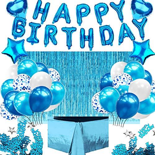iZoeL Kit Décoration Ballon Anniversaire Bleu Homme Garçon, Guirlande Happy Birthday Nappe Bleu Rideau à Franges 24 Ballons Confettis 4 Ballons étoile Coeur Confettis Birthday Baby Shower (bleu)