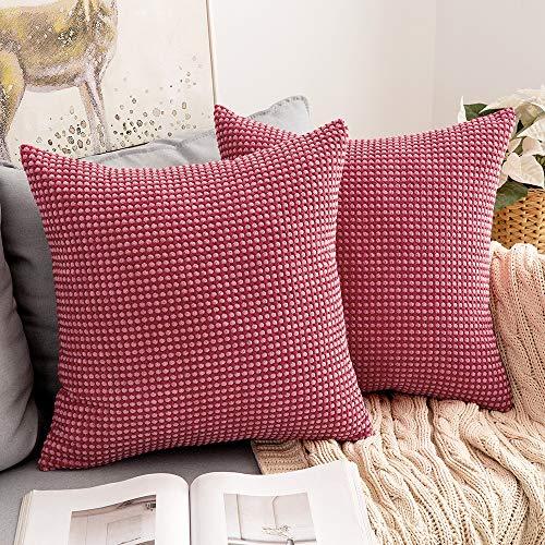 MIULEE Dekorative Kissenbezüge, zweifarbig, Cord, Mais-Design, Lendenkissenbezüge, Bauernhaus, quadratisch, für Sofa, Couch, Schlafzimmer, 45,7 x 45,7 cm, Rot / Rosa, 2 Stück