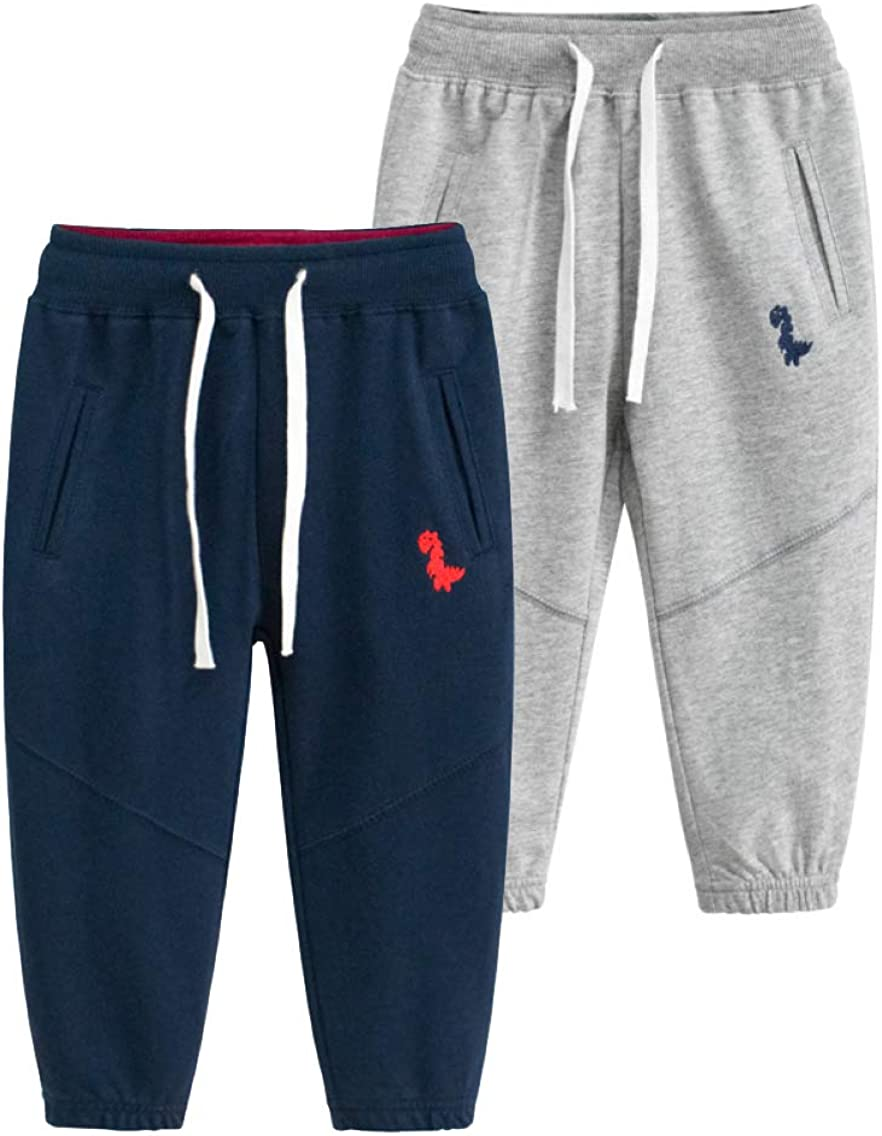 LeeXiang Toddler Boys' Athletic Pants Dinosaur Embroidery Outdoor Jogger Sweatpants 1Pack or 2Pack