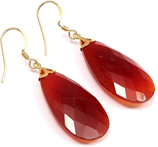 Ratnagarbha red chalcydony dangle earrings, beautiful earrings, bezel setting, earrings for women, semi precious stone