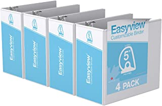 Easyview Premium, Angle D Ring, Customizable, View Binder, 4 Pack (5