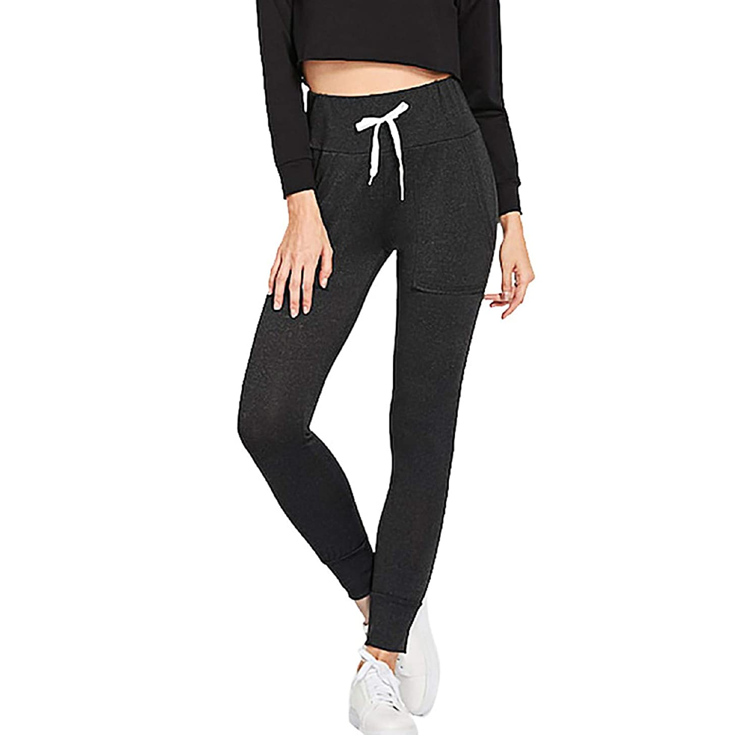 Women's Trousers,Women's Drawstring Elastic Waist Pocket Leggings High Waist Slim Fit Yoga Pants