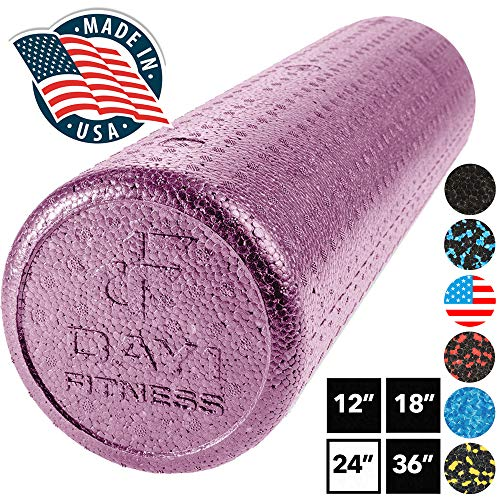 High Density Muscle Foam Rollers by Day 1 Fitness - Sports Massage Rollers for Stretching, Physical Therapy, Deep Tissue, Myofascial Release - Ideal for Exercise and Pain Relief – Solid Purple, 24""