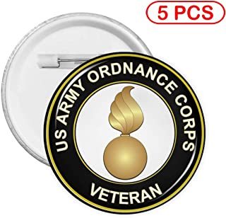 US Army Veteran Ordnance Corps Round Badges Round Button Pin 5 Sets