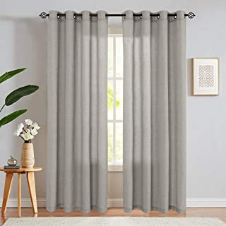 jinchan Linen Cotton Blend Curtains for Living Room Long Window Curtains Privacy Flax Linen Look Window Treatment Set for Bedroom Grommet Top 2 Panels 84 inches Soft Grey