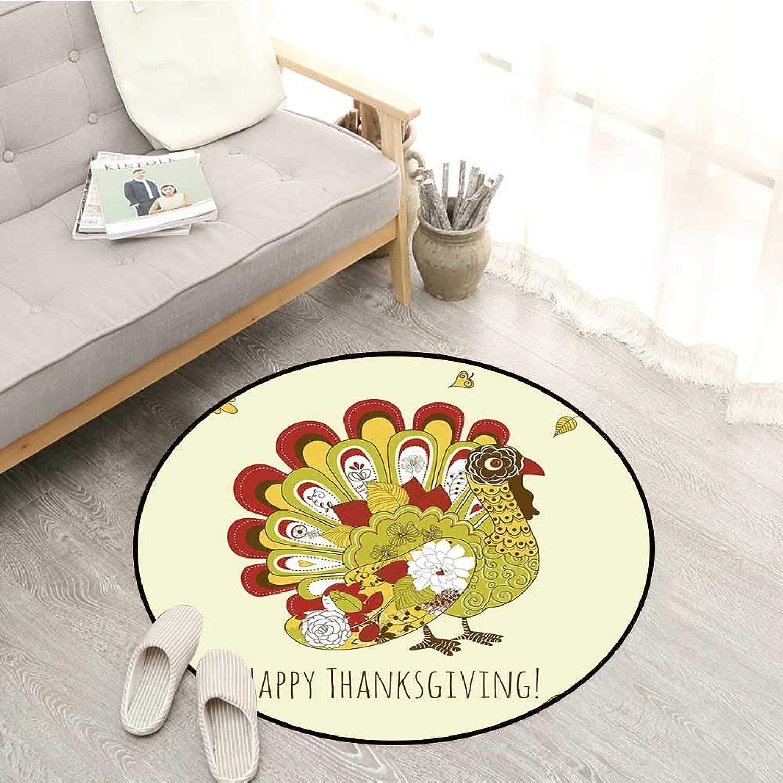 Turkey Living Room Round Rugs Turkey with Various Flowers and Swirls Symbol of Harvest Season Illustration Festive Sofa Coffee Table Mat 4'3  Multicolor
