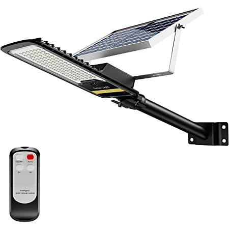 ENGREPO 80W Solar Street Lights Outdoor, 84 LEDs Security Flood Light Auto On/Off Dusk to Dawn with Remote Control for Yard, Garden, Street, Basketball Court