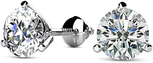 1/4-2 Carat Total Weight Round Diamond Stud Earrings 3 Prong Martini Screw Back (H-I Color SI2-I1 Clarity)