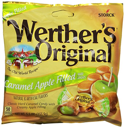 WERTHER'S ORIGINAL Caramel Apple Filled Hard Candies, 5.5 Ounce Bag (Pack of 6), Hard Candy, Bulk Candy, Individually Wrapped Candy Caramels, Caramel Candy Sweets, Bag of Candy, Hard Candy Bulk