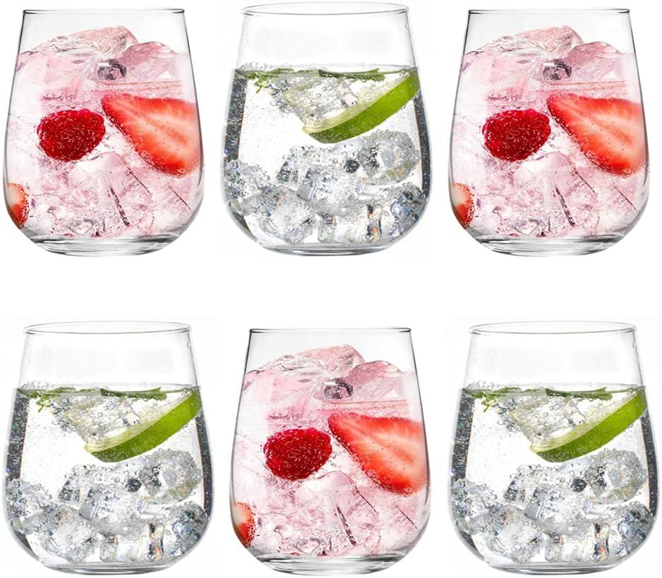 UNISHOP Set de 6 Vasos de Agua y Bebidas Alcohólicas, Vasos de Cristal Lisos y Transparentes de 36cl, Aptos para Lavavajillas