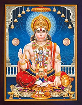 Handicraftstore Hanuman Pawan Putra Giving Blessings with ohm Symbol in Hand and Lord Also Giving Blessings A Poster Print with Frame for Home and Gift Purpose.