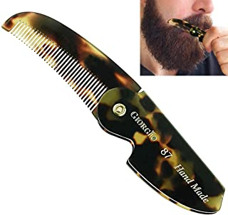 """Giorgio G87 2 1/2"""" Men Tokyo Folding Pocket Comb, Flexible & Durable for Grooming Styling Hair, Beard & Mustache. Hand-Made of Quality Cellulose, Saw-cut and Hand Polished. (G87)"""
