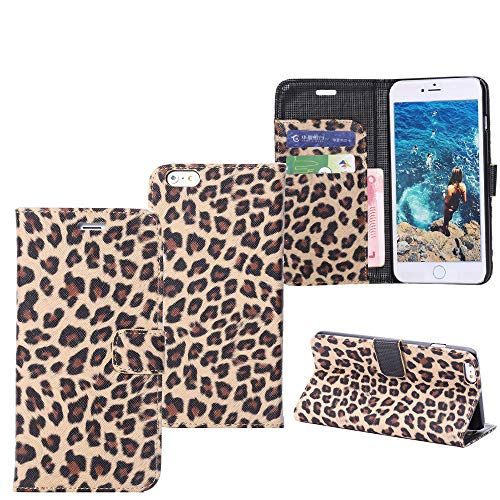 QC-EMART Custodia per iPhone 7 / iPhone 8 Cover Pelle Libro Giallo Leopardato Libretto Portafoglio con Carte di Credito Sottile Adatta TPU Antiurto Flip Custodie Guscio per Ragazza Donne