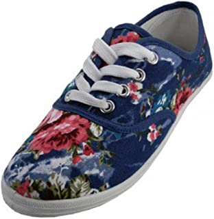 Easy USA - Womens Canvas Lace Up Shoe with Padded Insole Navy Rose-8