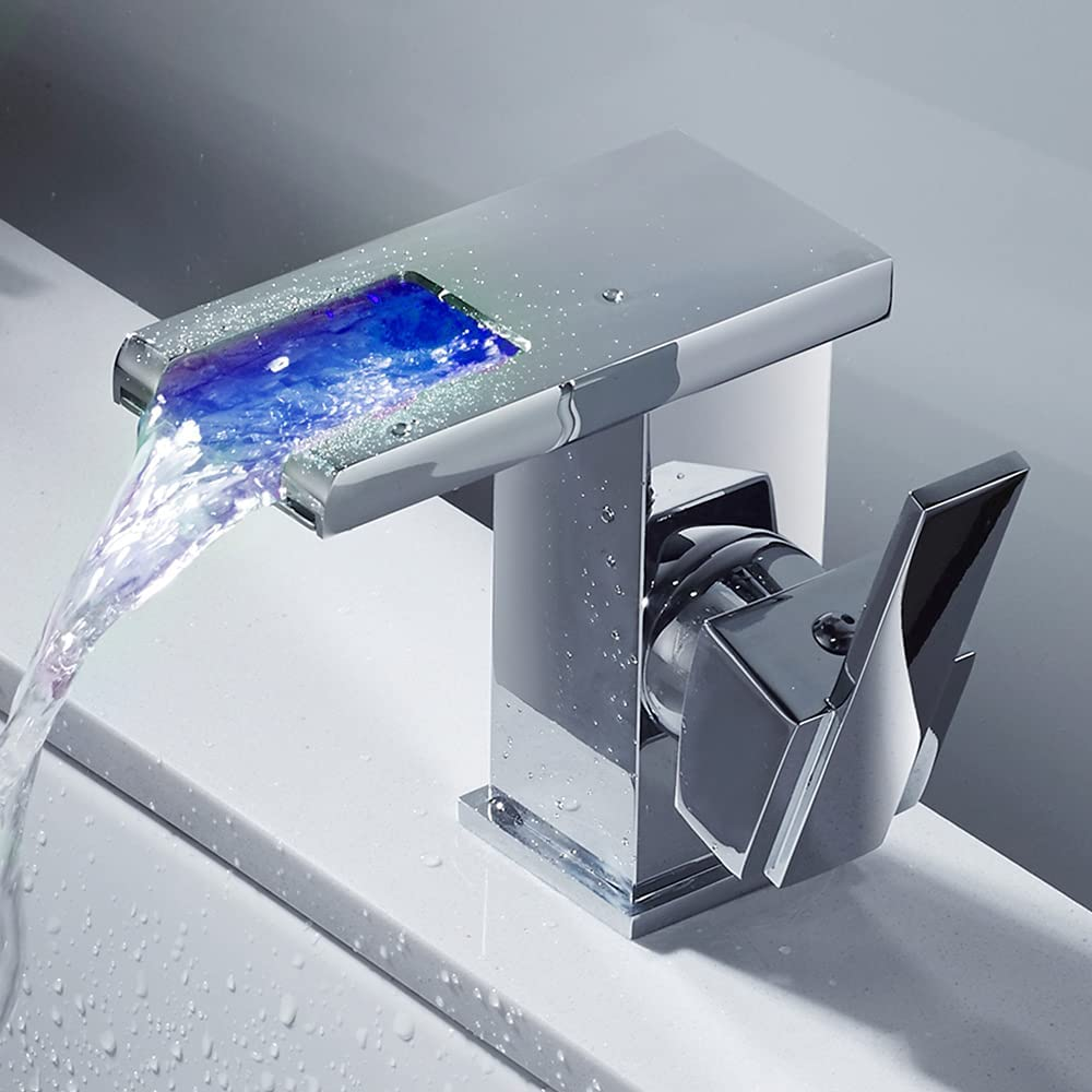 Grifo Lavabo Cascada, Grifo Moderno Baño con Luz LED, Mezclador de Baño Monomando Griferia Agua Fría y Agua Caliente, Adecuado Para Baño, Inodoro (Incluidos Accesorios) (Ceniza)