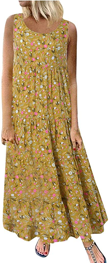 Women's Sleeveless Casual Dresses Strap Party Dress Maxi Dress Summer Round Neck Folk-Custom Print Dress