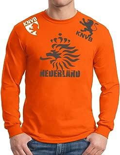 Nederland Lion Head Adult Long Sleeve T-Shirt Top Soccer Jersey Orange