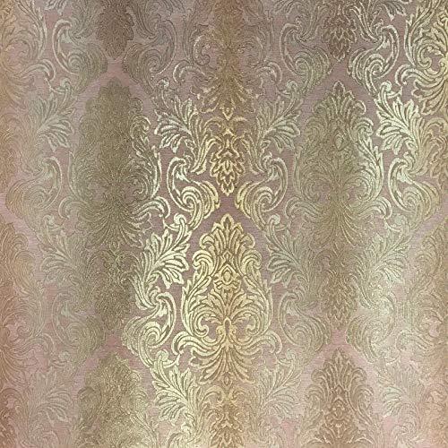QUADRUPLE ROLL 113.52sq.ft (4 single rolls size) Slavyanski wallcovering washable victorian pattern Vinyl Non-Woven Wallpaper rose gold pink orange textured stripe paste wall glitters metallic damask