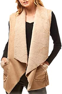 Women's Sleeveless Thicken Warm Fleece Faux Suede and Sherpa Vest