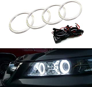 iJDMTOY 7000K Xenon White LED Angel Eye Halo Rings Kit for 2007 2008 Acura TL or TL Type-S (Retrofit Required)
