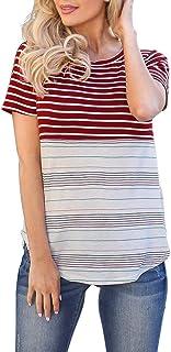 SuperSU-Umstandskleidung►▷Damen Kurzarm Still Striped Doppelschicht Baby Locker Stillshirts f/ür Schwangerschaft Mama Umstandsmode Umstands Umstandstop Basic Stillzeit Stilltops