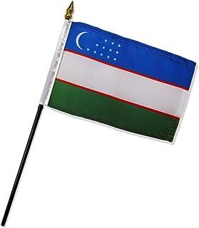 优质标准旗帜 12 件 乌兹别克斯坦共和国旗,10.16 x 15.24 cm
