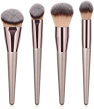 BBL 4pcs Luxury Champagne Gold Makeup Brush Set, Premium Synthetic Foundation Blending Powder Liquid Cream Buffing Tapered Concealer Contour Face Kabuki Make Up Brushes cosmetics tools applicator
