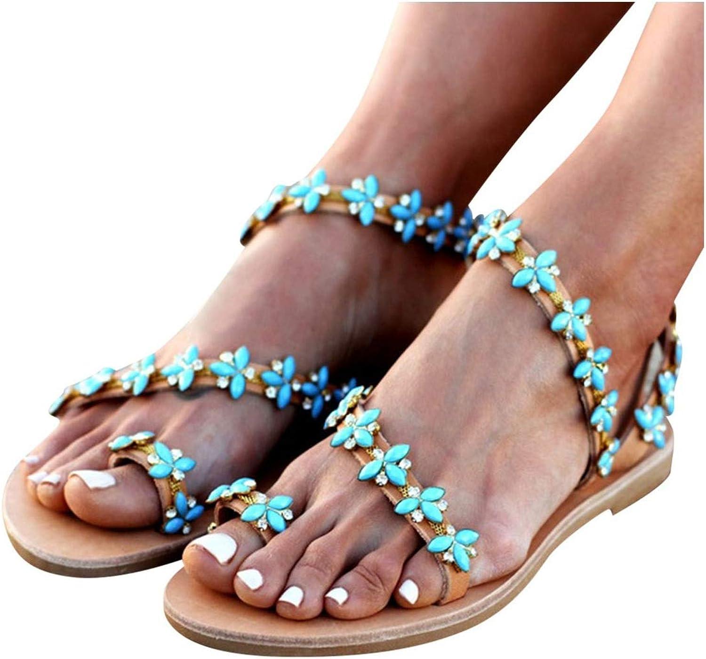 FINDYOU Women's Sandals Rome Ladies Gladiator shoes Crystal Flat Heel Flip Flops Sandal Handmade Beach shoes Casual