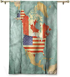 Andrea Sam Blackout Curtain Tie Up Shade Window World Map,States of Canada Theme,48