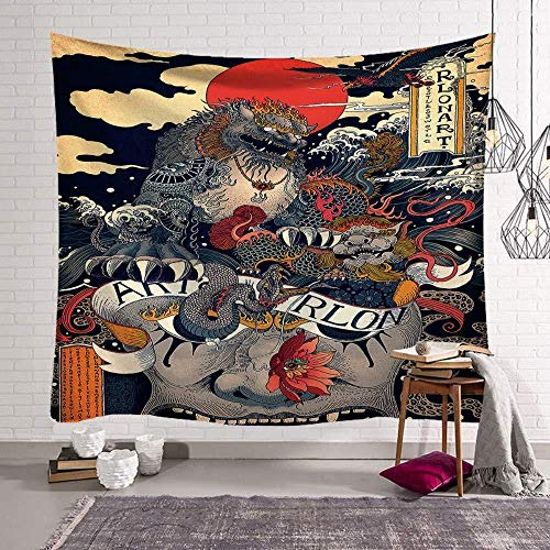 WAXB Tapiz Estilo Chino León Dragón Animal Psicodélico Hippie Tallas Grandes Estampado Bohemio Dormitorio, Habitación, Decoración del Hogar, Regalo, 51 X 59 Pulgadas
