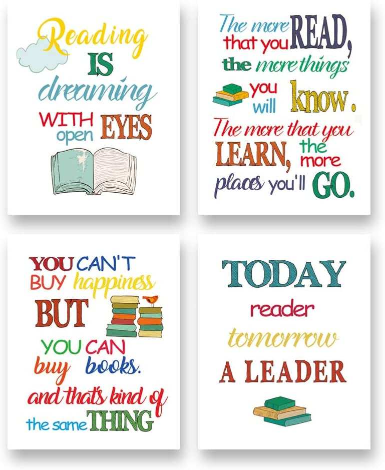 """Colorful Reading Inspirational Quote Art Print-Book Typography Phrase Canvas Wall Art-(8""""X10""""X4pieces, Unframed)-Perfect for Classroom Library Decoration"""