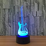 HHANN 3D Illusion Nuit Lumière Guitare Électrique Led Bureau Table Lampe 16 Couleur Tactile Lampe Maison Chambre Bureau Décor Pour Enfants D'Anniversaire De Noël Cadeau