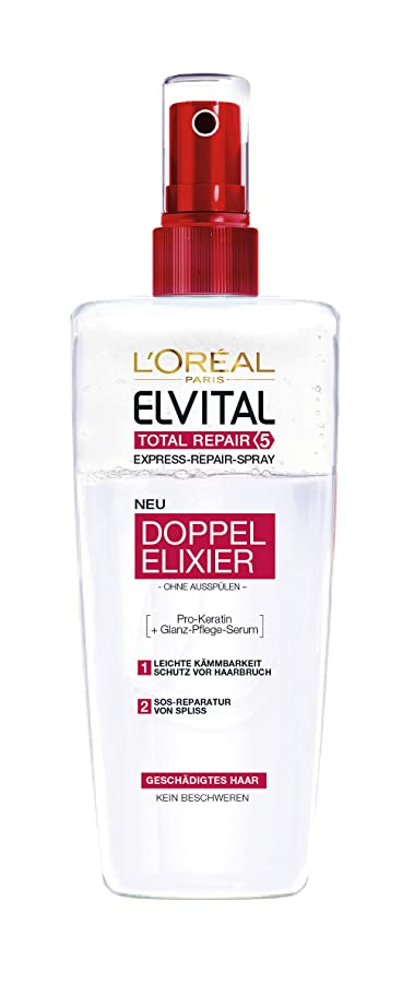 比類なき記述するラショナルL'Oréal Paris Elvital Total Repair 5 Biphase Kur, 3er Pack (3 x 200 ml)